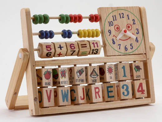 Wood Education Toy With Clock