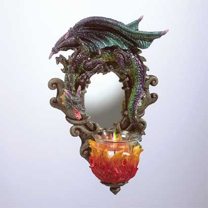 Dragon Wall Mirrior And Candle Holder