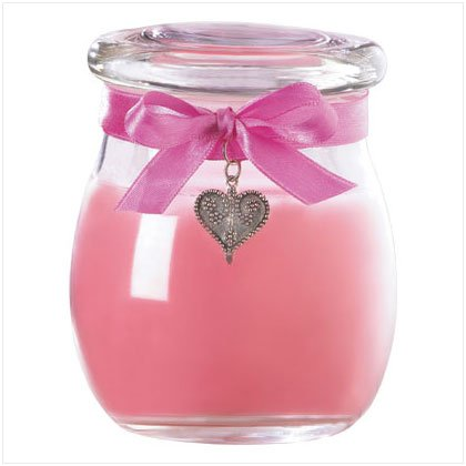 Pink Jar Candle with Heart Pendant