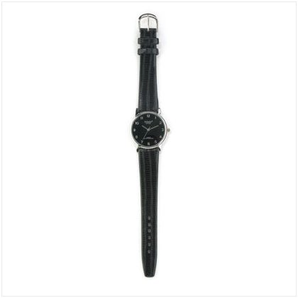 MEN'S BLACK DIAL LEATHER WATCH