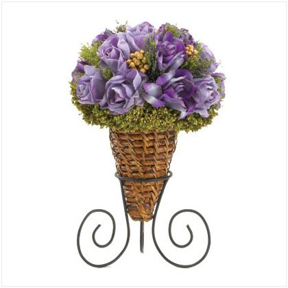 Lavender Roses In Rattan Cone
