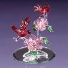 Red Cardinals &Roses In Glass