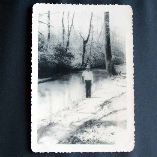 Vintage Black and White Photo Man Standing Next to Creek c1940s (PH004)