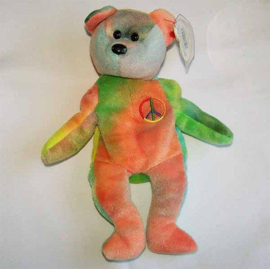 Peace the Ty-dye Bear Ty Beanie Baby MWMT