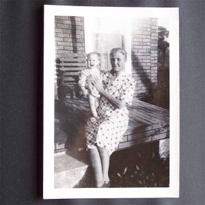 Vintage Black and White Photo Older Woman Holding Baby on Front Porch c1940s (PH011)