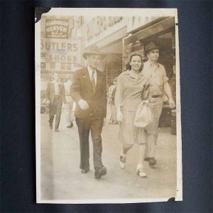 Vintage Black and White Photo 2 Men and Woman Walking Downtown c1950s (PH009)