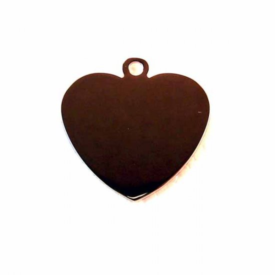 3 Blank Engravable Heart Tags Silver Stainless Steel (DT-3)