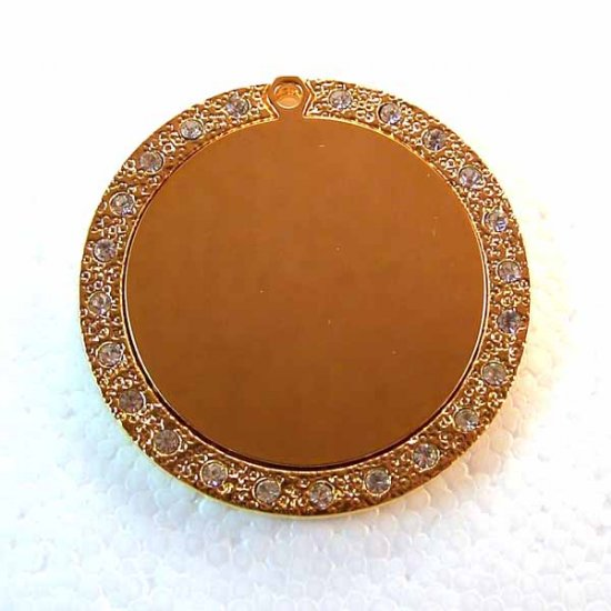 Blank Engravable Bling Bling Pendant Gold Plated Stainless Steel (DT-2)