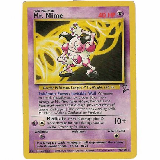 Pokemon Card Base 2 Mr. Mime 27/130 Single Card Rare (PK2)