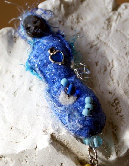 Art doll textile necklece
