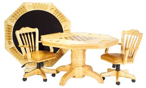 3 in 1 Poker Dining Game Table with 4 Chairs - Natural Maple Finish