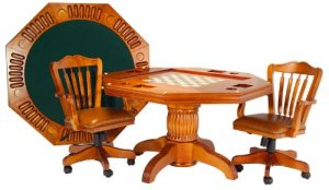 3 in 1 Poker Dining Game Table with 4 Chairs - Honey Finish