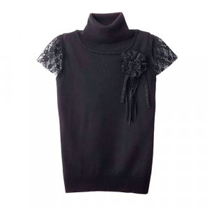 Turtleneck top with lace sleeve