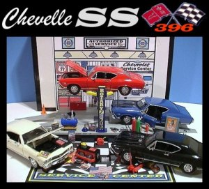 1968 CHEVELLE SS GARAGE W/ ELECTRIC CAR LIFT & 4 CARS++