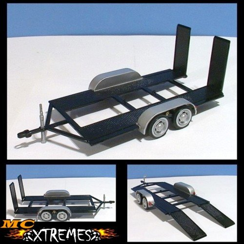 1/24 SCALE DIE CAST TANDEM-AXLE CAR TRAILER FOR YOUR MODEL CARS+++