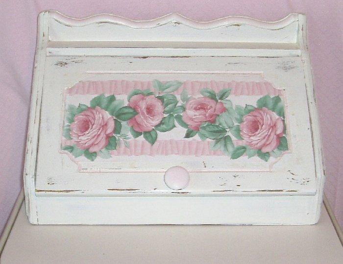 Vintage Shabby Pink & White Chic Storage/Bread Box  w/Roses11x19x10