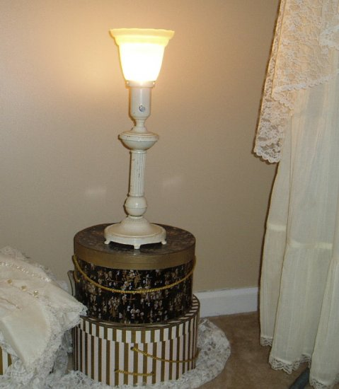 Vintage Shabby Off White Chic  Metal Lamp with Glass Shade