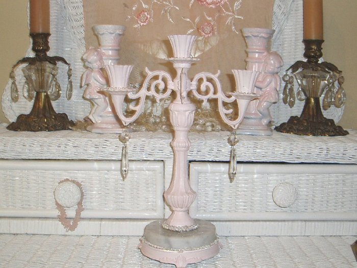 Vintage Shabby Pink Chic  Metal&Marble Candelabra w/Prisms Claw Feet