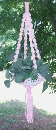 """Shabby Pink Macrame Chic Small Plant Hanger  36"""""""