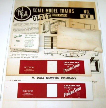 "Red Ball  D.L.&W. ""Phoebe Snow"" Boxcar Kit # 88|BrassTrainsAndMore"