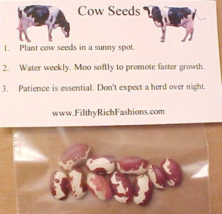 Novelty Cow Seeds Grow Your Own Herd Starter Kit Gag Gift