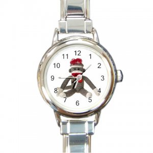 Sock Monkey Watch Italian Charm Round Womens Jewelry 26402323