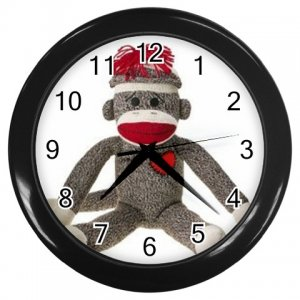 Sock Monkey Black Wall Clock 26402369