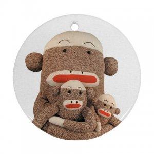 Group of SOCK MONKEYS Christmas Tree Ornament  Porcelain Round Shape 27184494