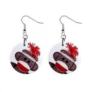 Sock Monkey Face Dangle Button Earrings Jewelry SM-Face2 27353845