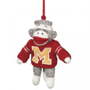 """SOCK MONKEY Ornament in Sweater Stuffed 6"""" Christmas Tree"""