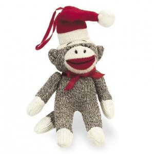 "SOCK MONKEY Ornament in Santa Hat 7"" for Christmas Tree"