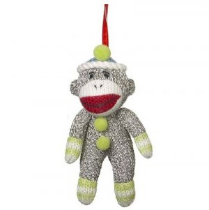 Sock Monkey Ornament With Green Trim Stuffed Small Decoration