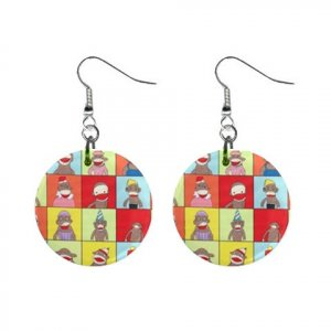 Sock Monkey Dangle Button Earrings Jewelry 12418575 SockMonkey3