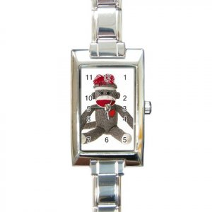 Sock Monkey Watch Retangular Italian Charm Womens Jewelry 26402322