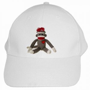 Sock Monkey Baseball Cap Hat White 26402325