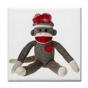 Sock Monkey Tile Coaster Ceramic Square 26402326