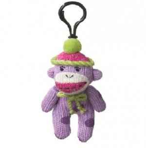 Small Sock Monkey Purple Polka Dots Clip On Stuffed Decoration