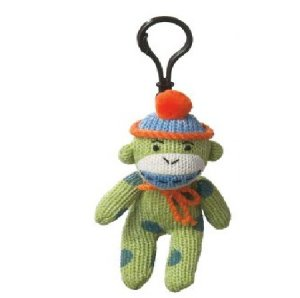 Small Sock Monkey Green Polka Dots Clip On Stuffed Decoration
