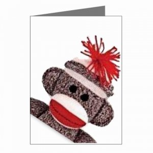 Sock Monkey Greeting Cards Note Thank You Stationery PACKAGE OF 8 - 27632431
