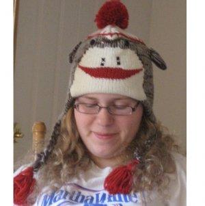 Sock Monkey Hat Teen and Adult Size Ready To Wear Fleece Lined