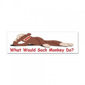 100 What Would Sock Monkey Do? Bumper Stickers Package of 100 -  28140477