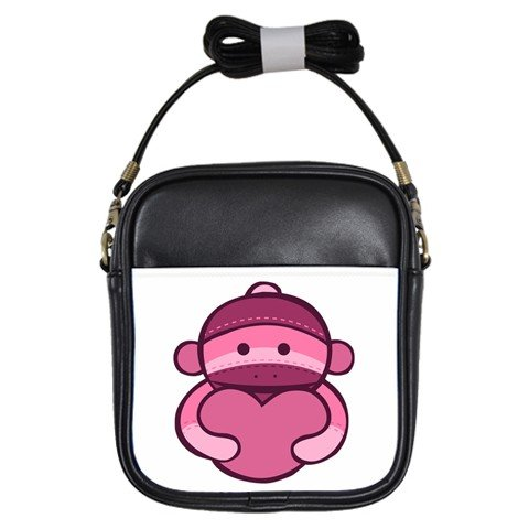 Sock Monkey Girls Sling Bag Shoulder Purse Pink Sock Monkey 28174823