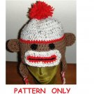 Sock Monkey Hat Teen and Adult Size Crochet Pattern with Ear Flaps