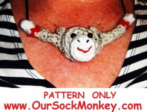 Sock Monkey Necklace Crochet Pattern PDF