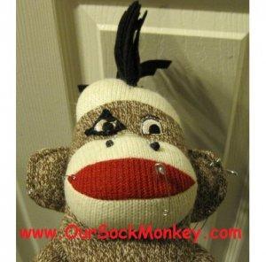 "Punk Rock  Sock Monkey Big 18"" One of a Kind"