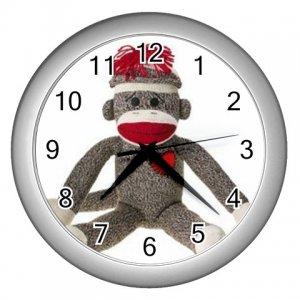Sock Monkey Silver  Wall Clock 26402374