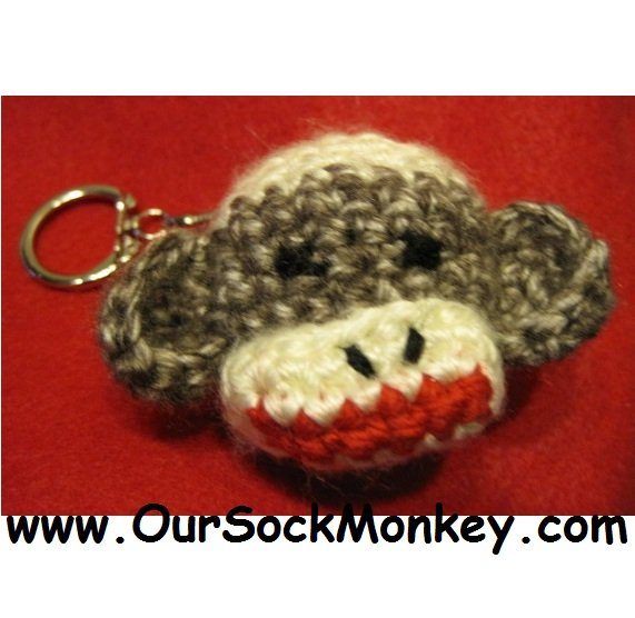 Handmade Sock Monkey Head  Key Chain Keychain Key Holder FREE SHIPPING in US
