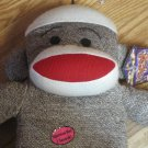 "Sock Monkey Pet Dog Toy 22"" Squeaky Squeaker"