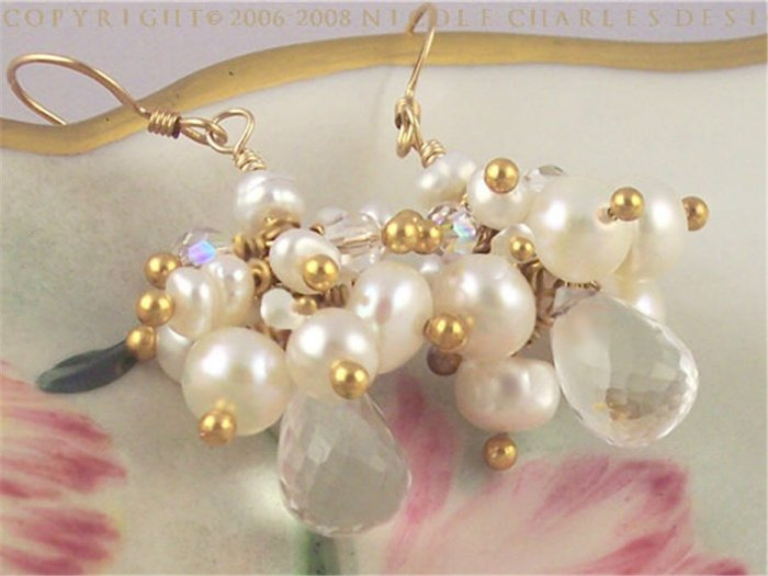 C H L O E - - Gorgeous Rock Crystal, Pearl, Gold, and Swarovski Austrian Crystal Drop Earrings