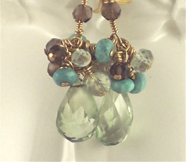 L A Y L A - - Prasiolite, Turquoise, Smoky Quartz, Aquamarine, and Gold Earrings